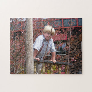 Boy Leaning on Railing Puzzle