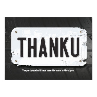 Boy License Plate Thank You Cards