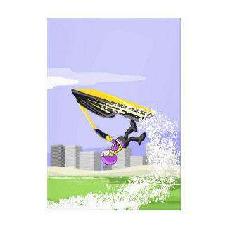 Boy makes a pirouette in his jet ski canvas print