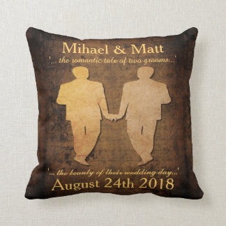 Boy Meets Boy Pillow Gay Grooms Wedding Gift
