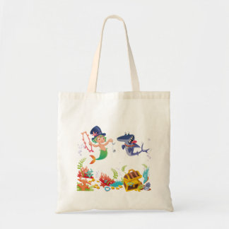 Boy Mermaid - Merman and Pet Shark Tote Bag