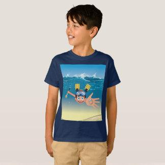 Boy metal detecting in water T-Shirt