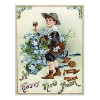 Boy Money Four Leaf Clover Forget-Me-Not Postcard