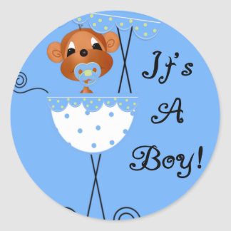 Boy Monkey in Carriage It's a  Boy Cards Classic Round Sticker