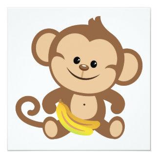 """Boy Monkey With Banana 5.25"""" Square Invitation Card"""
