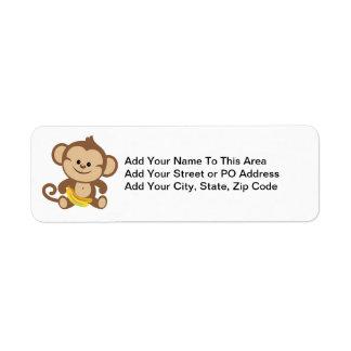 Boy Monkey With Banana Return Address Label