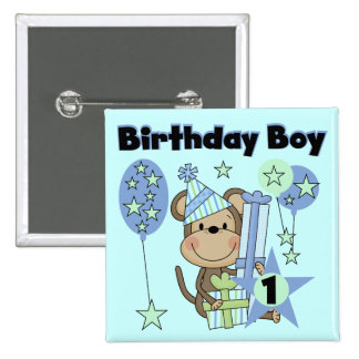 Boy Monkey With Gifts 1st Birthday 2 Inch Square Button