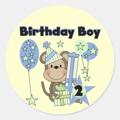 Monkey Boy Birthday Stickers, Monkey Boy Birthday Custom