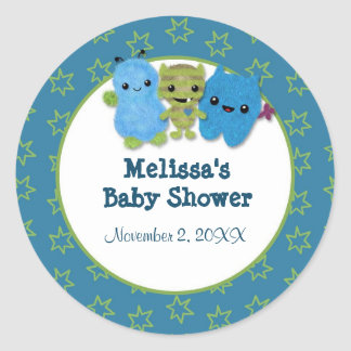 BOY MONSTER Peek a Boo Baby Shower blank PABC #2 Round Sticker