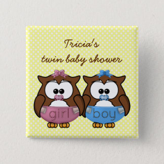 boy 'n girl baby owl 2 inch square button