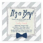 Boy Navy Blue Bow Tie Grey Stripes Baby Shower Card