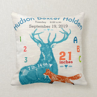 Boy Nursery Baby Birth Stat Fox Deer Arrow Throw Pillow