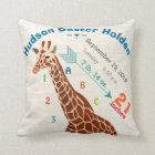 Boy Nursery Baby Birth Stats Giraffe Arrow Pattern Throw Pillow