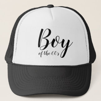 Boy of the Sixties 1960s Typography Black White Trucker Hat