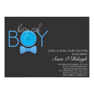 "Boy Oh boy bow-tie baby shower blue button 5"" X 7"" Invitation Card"