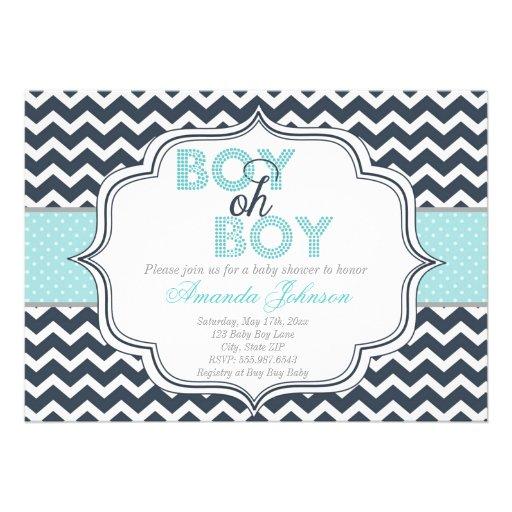 Boy Oh Boy Chic Chevron Baby Shower Invitation