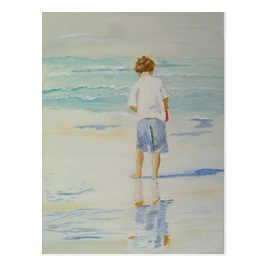 boy-on-a-beach postcard