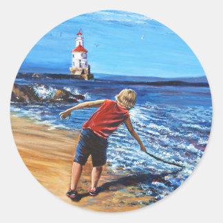 Boy on Beach Lake Superior Classic Round Sticker