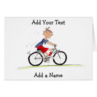 Boy On Bike Illustration Card
