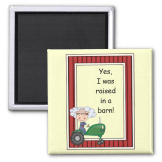 Boy on Green Tractor - Farmyard Barnyard - Kids Fridge Magnet