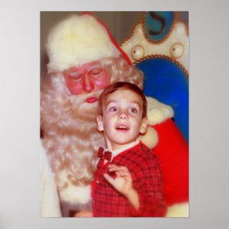 Boy on Santa's Lap - Nostalgic Photo Santa Claus Poster
