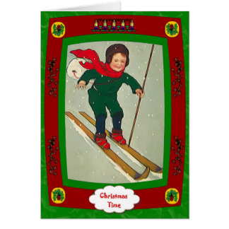 Boy on skis greeting card