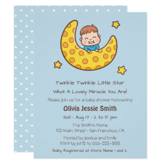 Boy on the Moon Twinkle Little Star Baby Shower Card