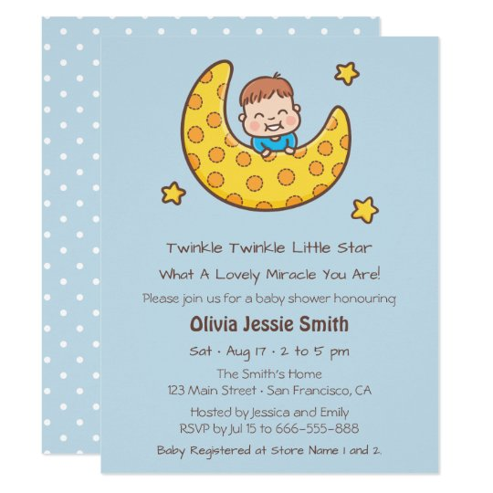 boy on the moon twinkle little star baby shower card | zazzle, Baby shower invitations
