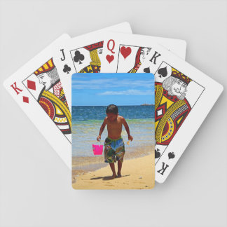 Boy on the Sand Playing Cards