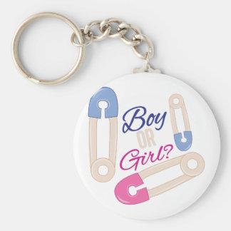 Boy Or Girl Basic Round Button Keychain