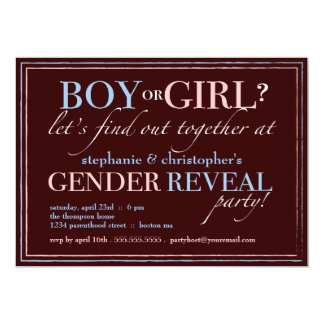 "Boy or Girl Elegant Baby Gender Reveal Party 5"" X 7"" Invitation Card"