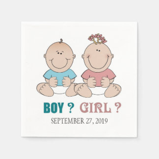 Boy or Girl Gender Reveal Baby Shower Disposable Napkins