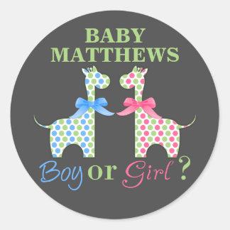 Boy Or Girl Giraffe Gender Reveal Classic Round Sticker
