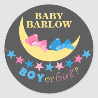 Boy Or Girl Teddy Bears On Moon Gender Reveal Classic Round Sticker