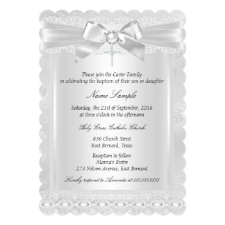 "Boy or Girl White Lace Cross Baptism Christening 5"" X 7"" Invitation Card"