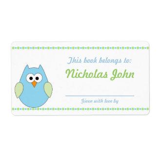 Boy Owl Baby Shower Bookplates book plates
