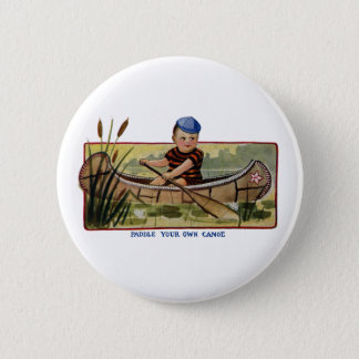 Boy Paddling Canoe Through Lily Pads Vintage 2 Inch Round Button
