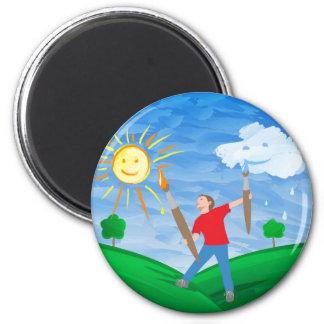 Boy Painting Skies Magnet