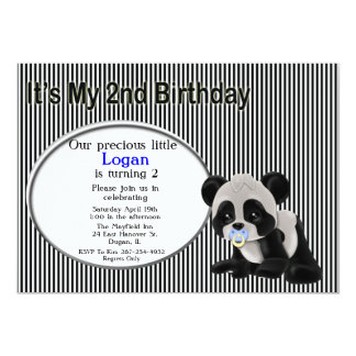 Boy Panda Bear 2nd Birthday Invitation