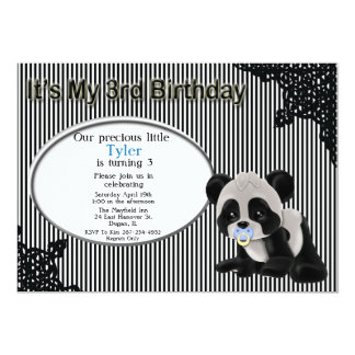 Boy Panda Bear 3rd Birthday Invitation