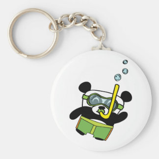 Boy Panda in Swimsuit Snorkling Keychain
