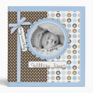 Boy Paw Print Polka Dots 1.5 in. Photo Album Vinyl Binder