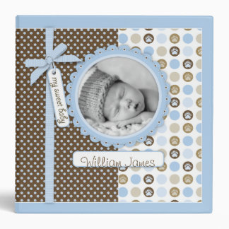 Boy Paw Print Polka Dots 2 in. Photo Album Vinyl Binder