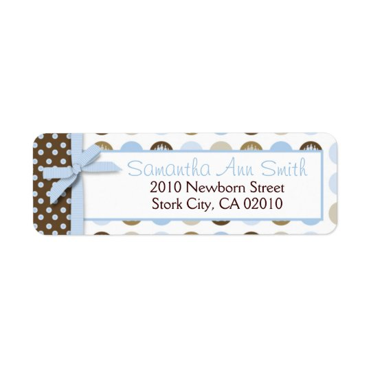Boy Paw Print Polka Dots Return Label Return Address Label