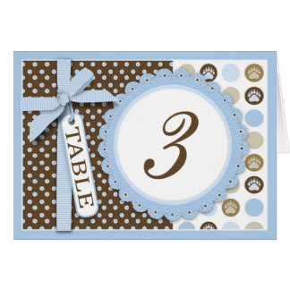 Boy Paw Print Polka Dots Table Card