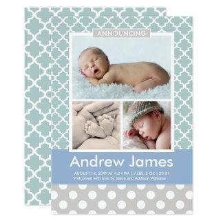 Boy Photo Birth Announcement Card   Modern Pattern