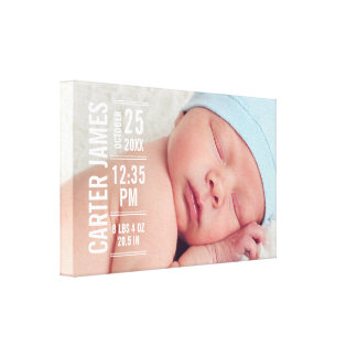 Boy Photo Birth Keepsake   Modern Type Canvas Print