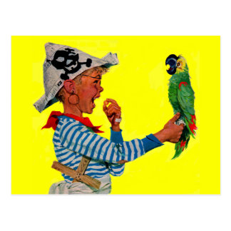 boy pirate and parrot postcard
