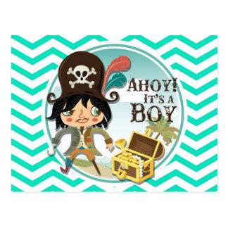 Boy Pirate Aqua Green Chevron Postcards