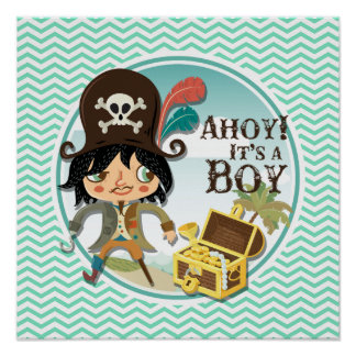Boy Pirate Aqua Green Chevron Posters